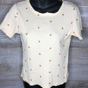 Vintage 90s sunflower printed summer  t shirt